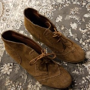 MIA Rust Suede Wallaby Wedge Booties 8